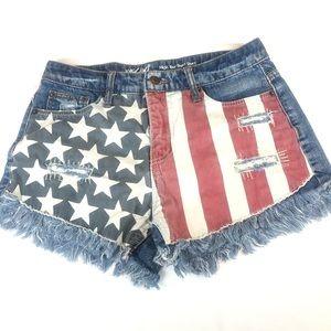 Mossimo Cut-Off Denim American Flag Shorts 4